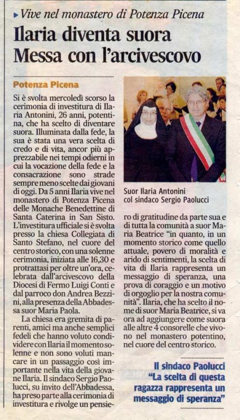 Corriere Adriatico - cronaca locale del 6/10/2012.