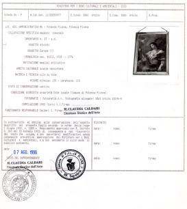 Scheda tecnica redatta dalla Sovrintendenza di Urbino il 7-8-1998. Archivio Storico Comunale PP.