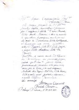 Lettera del parroco don Marone Cesanelli del 5 dicembre 1934 con la richiesta di erezione della croce ricordo delle Sante Missioni. ASCPP.