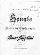 Copertina dell'opera Sonata per piano e violoncello di Bruno Mugellini. ASCPP.
